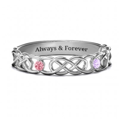 Two-Stone Interwoven Infinity Ring  - Crafted By Birthstone Design™
