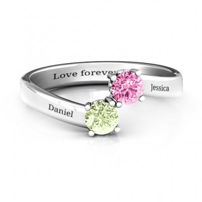 Two Stone Ring With Filigree Settings  - Crafted By Birthstone Design™