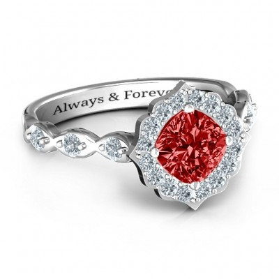 Vintage Glamour Ring With Accent Stones  - Crafted By Birthstone Design™