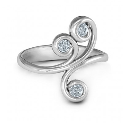 Whimsical Waves 3-Stone Ring  - Crafted By Birthstone Design™