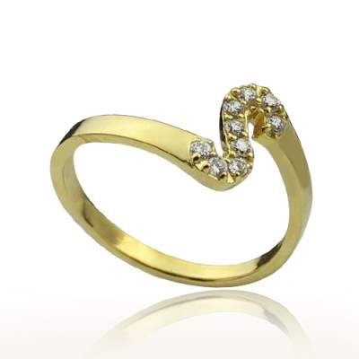 Custom Birthstone Initial Ring 18ct Gold Plated  - Crafted By Birthstone Design™