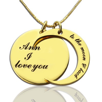 I Love You to The Moon and Back Love Necklace 18ct Gold Plated - Crafted By Birthstone Design™