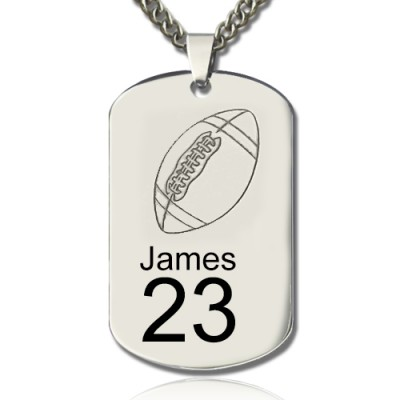 Man's Dog Tag Rugby Name Necklace - Crafted By Birthstone Design™