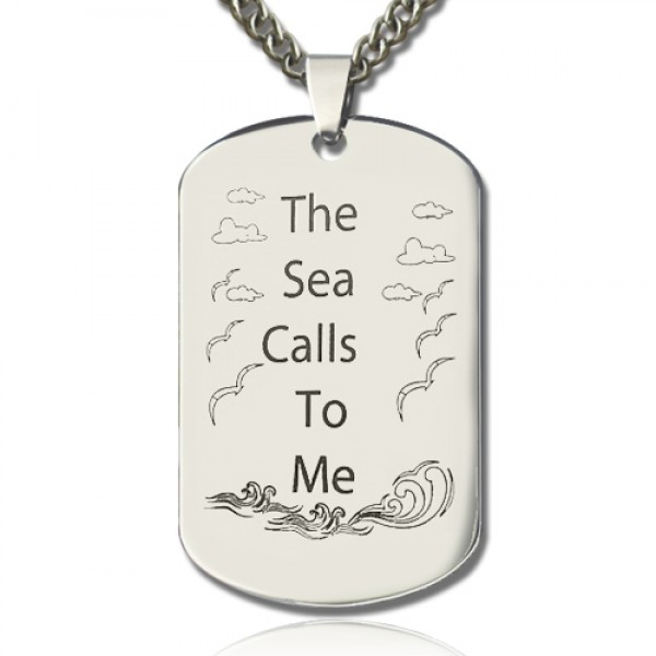 Man's Dog Tag Ocean Theme Name Necklace - Crafted By Birthstone Design™