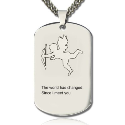 Cupid Man's Dog Tag Name Necklace - Crafted By Birthstone Design™