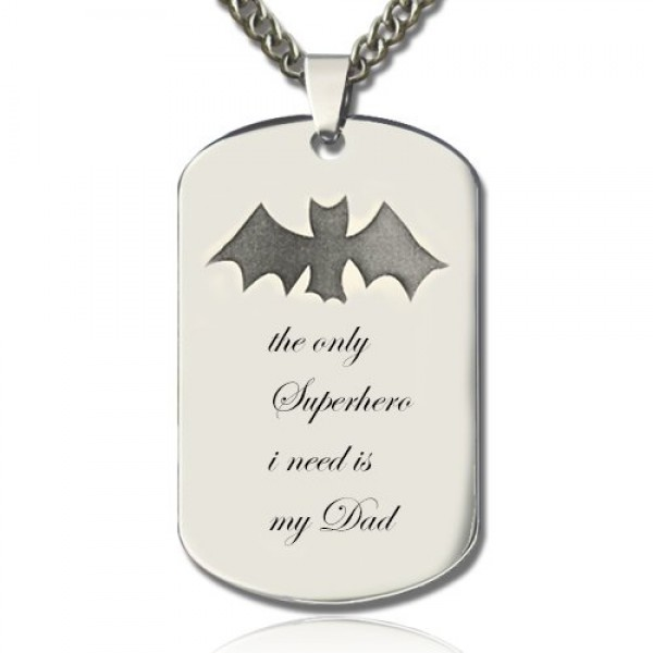 Man's Dog Tag Bat Name Necklace - Crafted By Birthstone Design™
