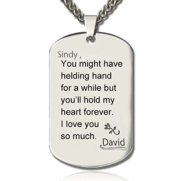 Man's Dog Tag Love and Family Theme Name Necklace - Crafted By Birthstone Design™