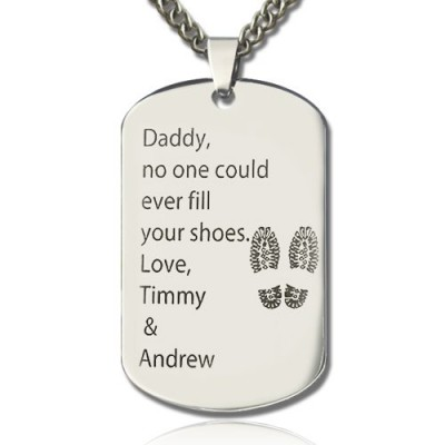 Father' Day Gift Dog Tag Name Necklace - Crafted By Birthstone Design™