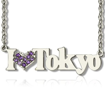 Sterling Silver I Love You Name Necklace with Birthstone  - Crafted By Birthstone Design™