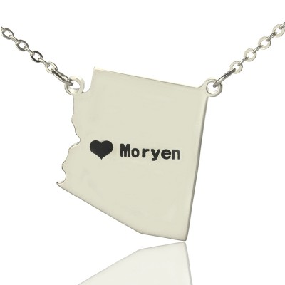 Custom Arizona State Shaped Necklaces With Heart  Name Silver - Crafted By Birthstone Design™