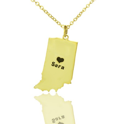 Custom Indiana State Shaped Necklaces With Heart  Name Gold Plated - Crafted By Birthstone Design™