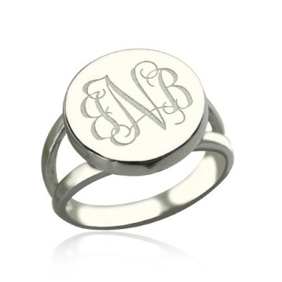 Sterling Silver Circle Monogram Signet Ring - Crafted By Birthstone Design™