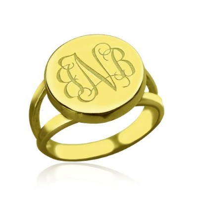 18ct Gold Plated Circle Monogram Signet Ring - Crafted By Birthstone Design™