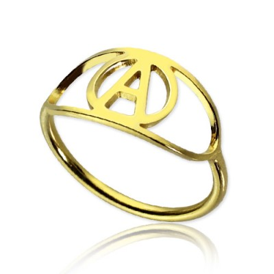 Personalised Eye Rings with Initial 18ct Gold Plated - Crafted By Birthstone Design™