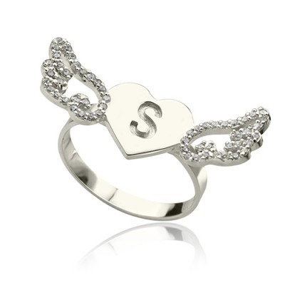 Heart Angel Wings Ring Engraved Initial  Birthstone Sterling Silver  - Crafted By Birthstone Design™