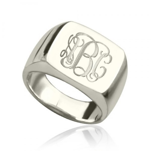 Engraved Square Designs Monogram Ring Sterling Silver - Crafted By Birthstone Design™