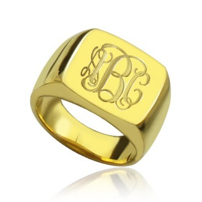 18ct Gold Plated Fashion Monogram Initial Ring - Crafted By Birthstone Design™