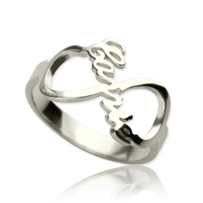 Personalised Infinity Nameplate Ring Sterling Silver - Crafted By Birthstone Design™