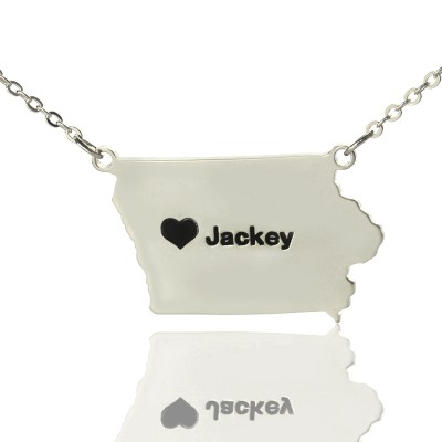 Iowa State USA Map Necklace With Heart  Name Silver - Crafted By Birthstone Design™