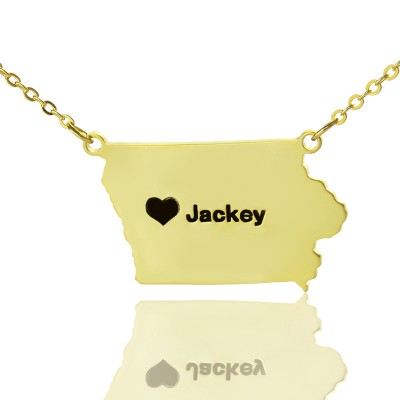 Iowa State USA Map Necklace With Heart  Name Gold Plated - Crafted By Birthstone Design™