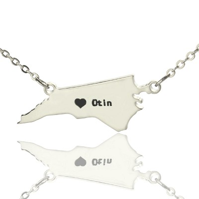 Personalised NC State USA Map Necklace With Heart  Name Silver - Crafted By Birthstone Design™