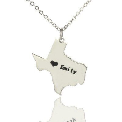 Texas State USA Map Necklace With Heart  Name Silver - Crafted By Birthstone Design™