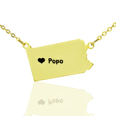 Personalised PA State USA Map Necklace With Heart  Name Gold Plated - Crafted By Birthstone Design™