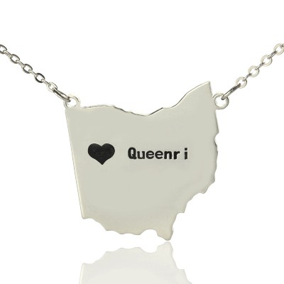 Custom Ohio State USA Map Necklace With Heart  Name Silver - Crafted By Birthstone Design™
