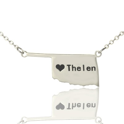 America Oklahoma State USA Map Necklace With Heart  Name Silver - Crafted By Birthstone Design™