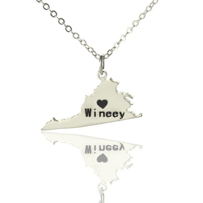 Virginia State USA Map Necklace With Heart  Name Silver - Crafted By Birthstone Design™