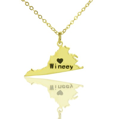 Virginia State USA Map Necklace With Heart  Name Gold Plated - Crafted By Birthstone Design™