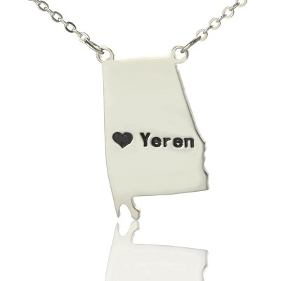 Custom Alabama State USA Map Necklace With Heart  Name Silver - Crafted By Birthstone Design™