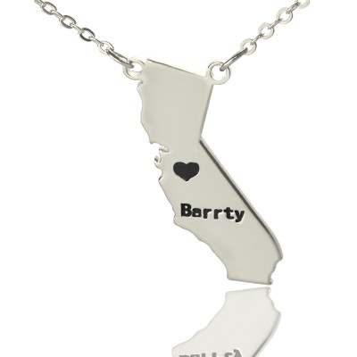California State Shaped Necklaces With Heart  Name Silver - Crafted By Birthstone Design™