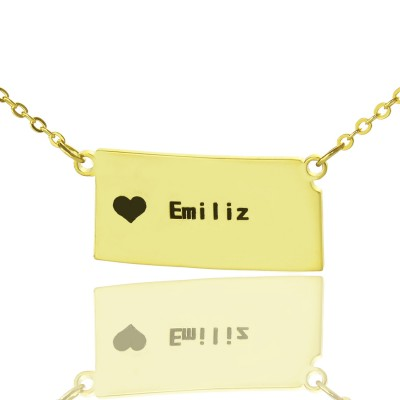 Custom Kansas State Shaped Necklaces With Heart  Name Gold Plated - Crafted By Birthstone Design™