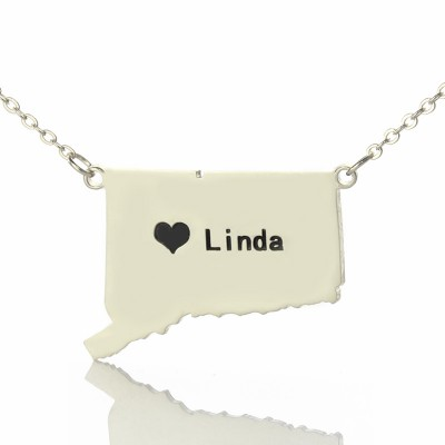 Connecticut State Shaped Necklaces With Heart  Name Silver - Crafted By Birthstone Design™