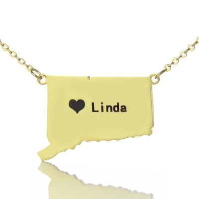 Connecticut State Shaped Necklaces With Heart  Name Gold Plate - Crafted By Birthstone Design™