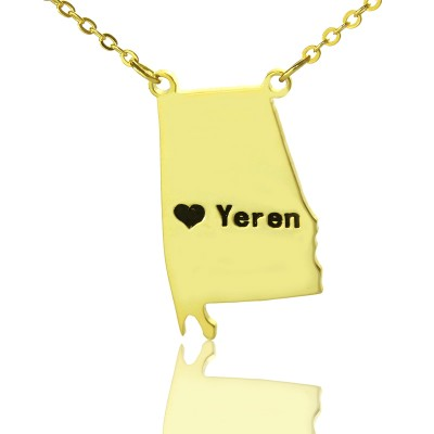 State USA Map Necklace With Heart  Name Gold Plated Silver - Crafted By Birthstone Design™