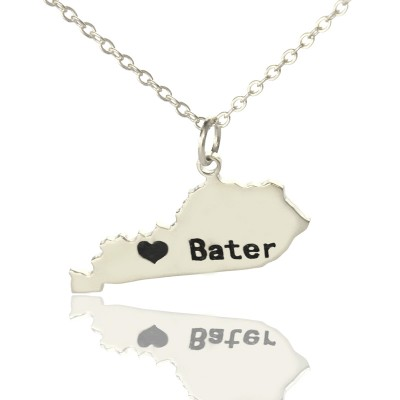 Custom Kentucky State Shaped Necklaces With Heart  Name Silver - Crafted By Birthstone Design™