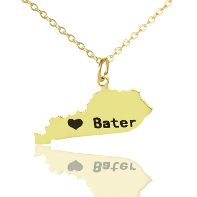 Custom Kentucky State Shaped Necklaces With Heart  Name Gold Plated - Crafted By Birthstone Design™