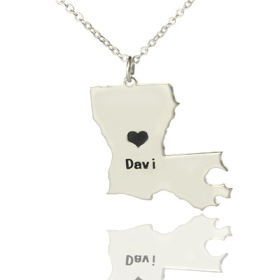 Custom Louisiana State Shaped Necklaces With Heart  Name Silver - Crafted By Birthstone Design™