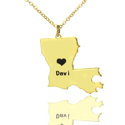 Custom Louisiana State Shaped Necklaces With Heart  Name Gold Plated - Crafted By Birthstone Design™