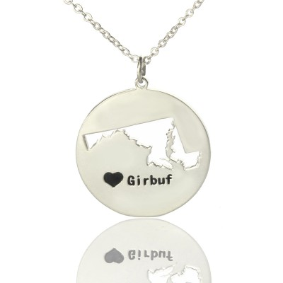 Custom Maryland Disc State Necklaces With Heart  Name Silver - Crafted By Birthstone Design™