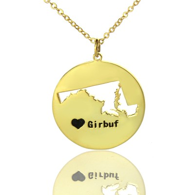Custom Maryland Disc State Necklaces With Heart  Name Gold Plated - Crafted By Birthstone Design™