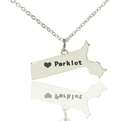 Massachusetts State Shaped Necklaces With Heart  Name Silver - Crafted By Birthstone Design™