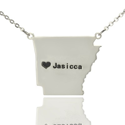 Custom AR State USA Map Necklace With Heart  Name Silver - Crafted By Birthstone Design™