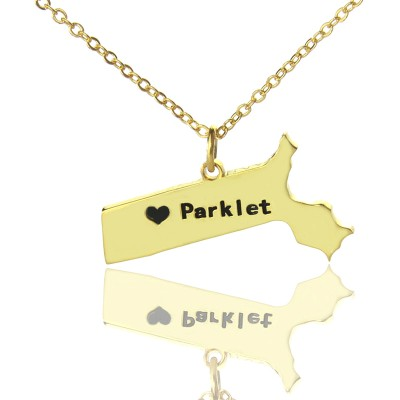 Massachusetts State Shaped Necklaces With Heart  Name Gold Plated - Crafted By Birthstone Design™