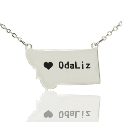 Custom Montana State Shaped Necklaces With Heart  Name Silver - Crafted By Birthstone Design™