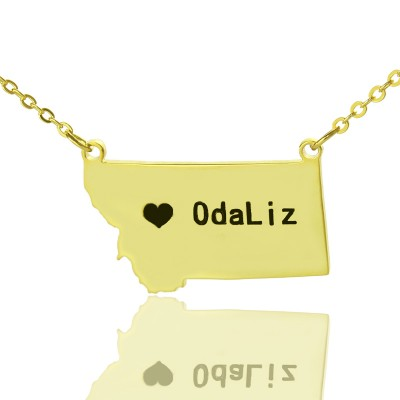 Custom Montana State Shaped Necklaces With Heart  Name Gold Plated - Crafted By Birthstone Design™