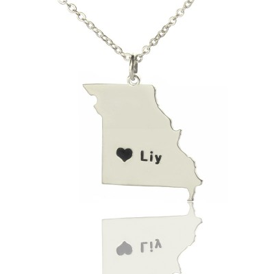 Custom Missouri State Shaped Necklaces With Heart  Name Silver - Crafted By Birthstone Design™