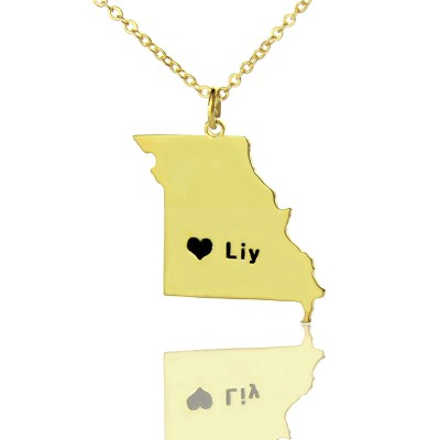 Custom Missouri State Shaped Necklaces With Heart  Name Gold Plated - Crafted By Birthstone Design™